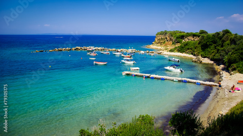 A beauty beach in Zakynthos, Greece. Canvas Print
