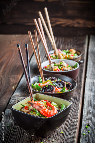 Few traditional asian noodles with vegetables
