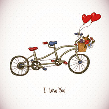 Vintage Floral Card With Tandem Bike