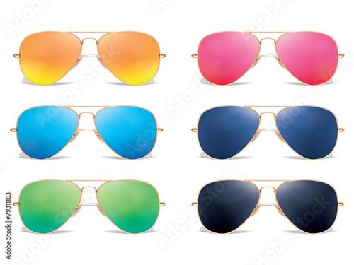 Fototapeta Sunglasses vector icon set. Vector illustration
