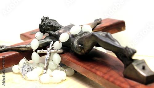 Fotografie, Obraz  crocifisso con rosario