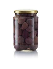 Glass Jar Of Pickled Black Olives