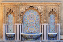 Morocco. Decorated Fountain Wi...