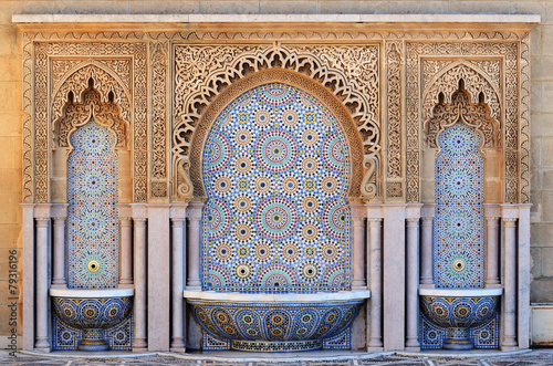 Poster Maroc Morocco. Decorated fountain with mosaic tiles in Rabat