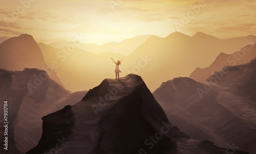 Canvas Prints Deep brown Mountain praise