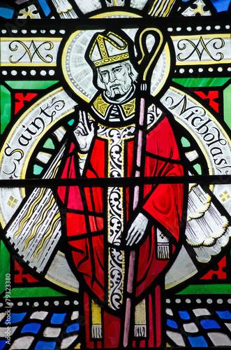 Saint Nicholas Stained Glass Window Wall mural