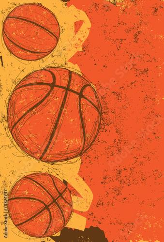 fototapeta na lodówkę Trzy koszykówki