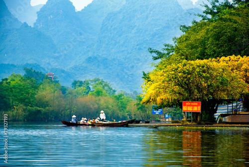 Yen stream on the way to Huong pagoda, Hanoi, Vietnam