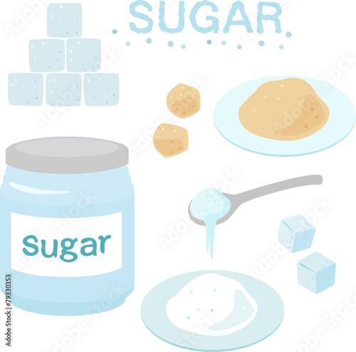 Fotografie, Obraz  砂糖,角砂糖,シュガーポット
