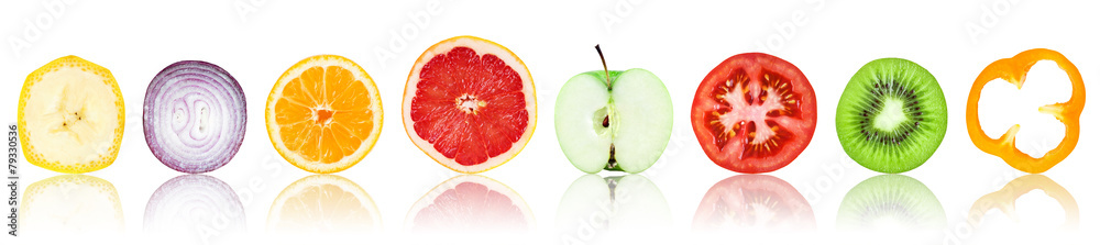 Fototapety, obrazy: Collection of fresh fruit and vegetable slices