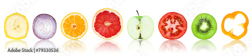 Foto op Plexiglas Vruchten Collection of fresh fruit and vegetable slices