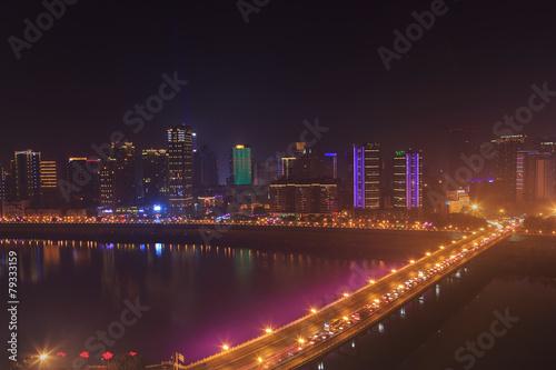 Deurstickers Rotterdam modern city at night