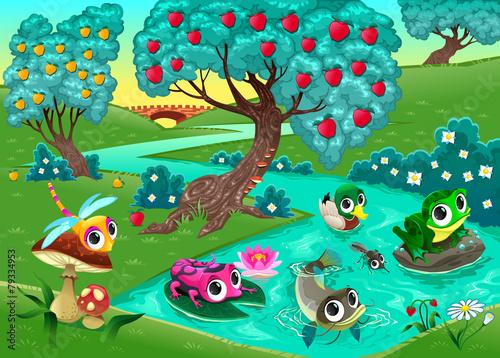 obraz lub plakat Zabawna zwierząt na rzece w lesie