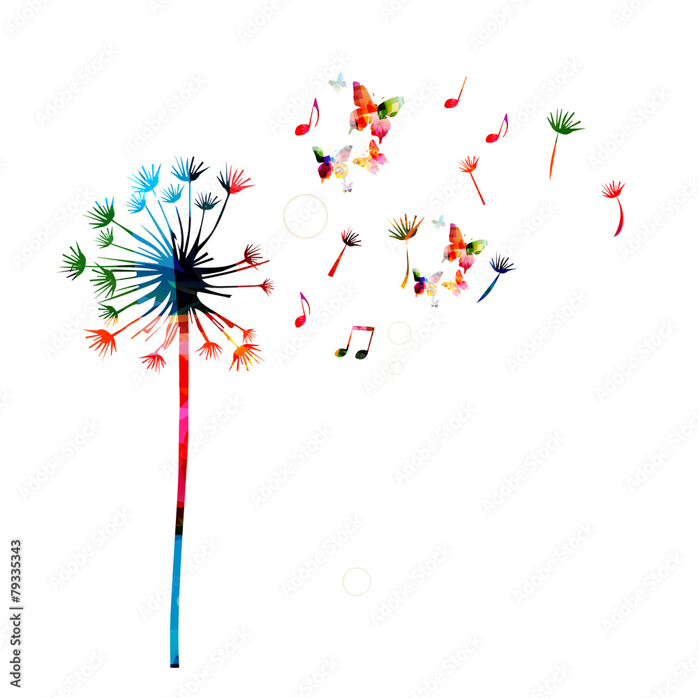 Fototapety, obrazy: Colorful dandelion background with butterflies