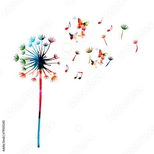 Fotografie, Obraz  Colorful dandelion background with butterflies