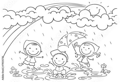 Kids Playing In The Rain Buy This Stock Vector And Explore