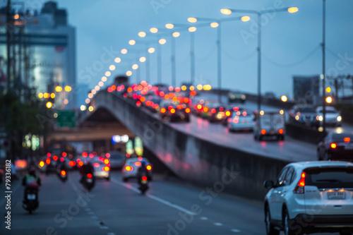 Foto op Aluminium Nacht snelweg City traffic night blurred