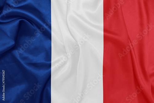 France - Waving national flag on silk texture Fototapet