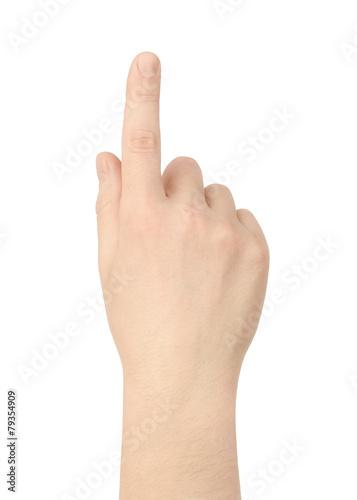 Foto  Hand drückt den Knopf auf weißem Hintergrund