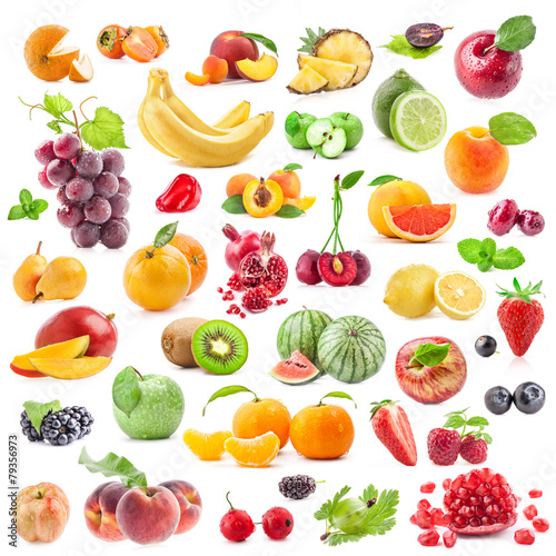Collection of fruits and vegetables isolated on white Wall mural