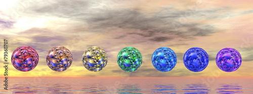 Photo  Chakra spheres - 3D render