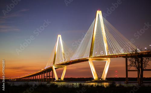 Fotografiet Arthur Ravenel Jr Bridge Illuminated in Evening