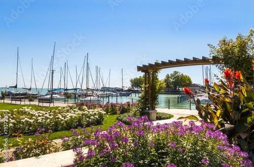 Balaton - idyllischer Blick auf den Hafen Canvas Print