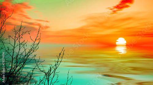 Fotobehang Zwavel geel Beautiful landscape with birds