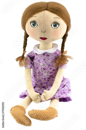 Photographie  handmade doll isolated on white