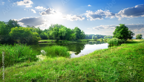 Photo Stands Blue sky River landscape
