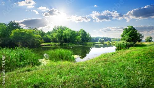 Poster Blue sky River landscape