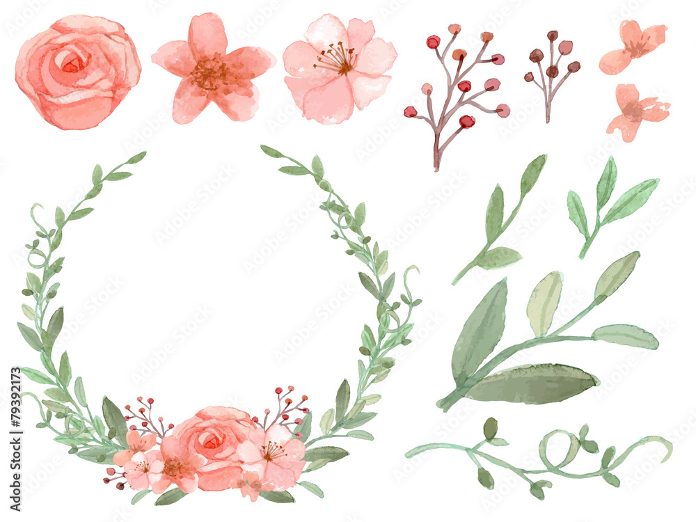 Fototapety, obrazy: Set of flowers and leaves vector