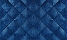 Blue Quilted Leather Fabric Close Up, Abstract Background
