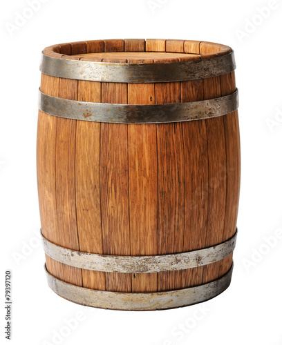 Vászonkép Wooden oak barrel isolated on white background