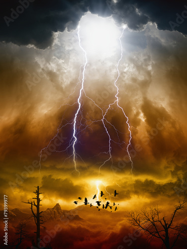 Foto op Canvas Onweer Judgment day