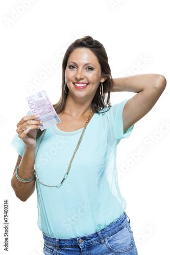 Smiling Attractive Woman Holding 500 Euro Bill Tablou Canvas