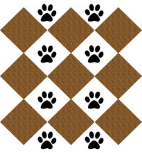 Dog Footprints On A Checkered ...