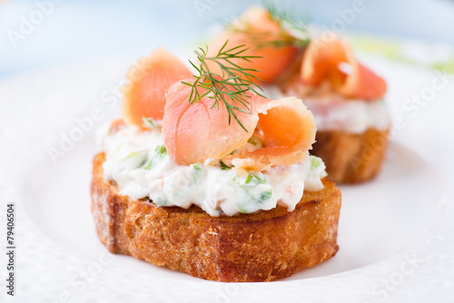 Poster Entree Canapes with smoked salmon and cream cheese