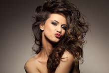 Marvelous Beautiful Brunette Posing In The Studio - Hair Styling
