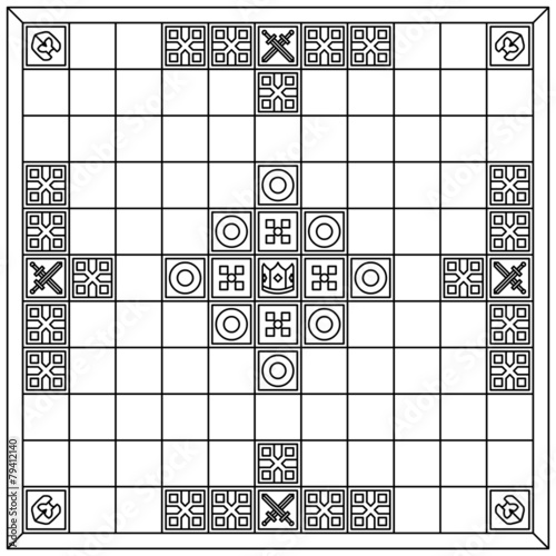 Hnefatafl gameboard (black & white) Wallpaper Mural