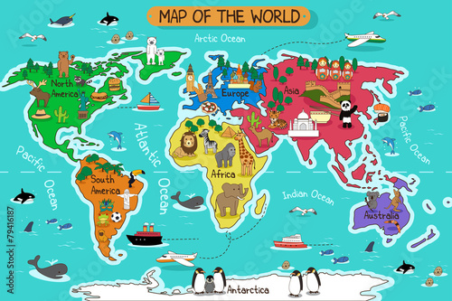 La pose en embrasure Carte du monde Map of the world