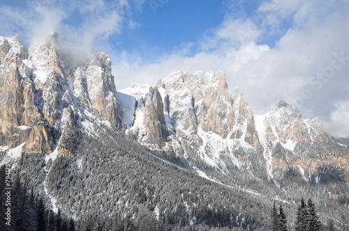 Dolomites Alps under winter sun, Italy, Europe