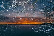 Sunset Through Snowfall
