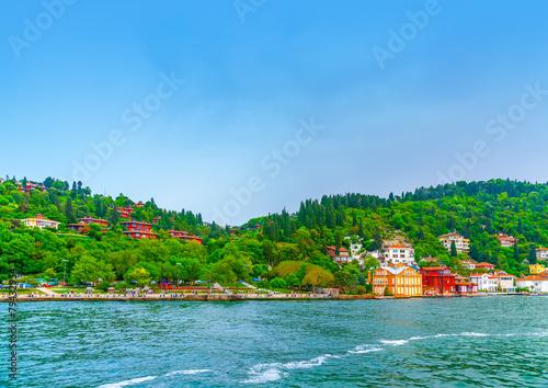 Papiers peints Scandinavie old houses across Bosphorus channel at Istanbul Turkey