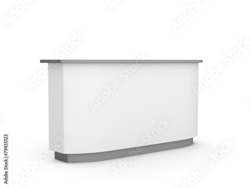 Láminas  white long desk or counter from a bit perspective view. render
