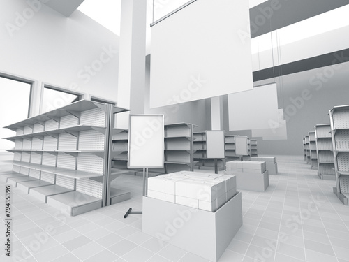 Fotomural interior of a store with product island. 3D rendering