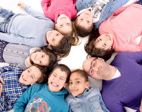 Fototapeta teacher and kids obraz na płótnie