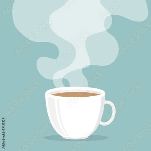 Obraz Coffee cup with smoke float up - fototapety do salonu