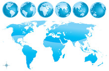 World Map Glosy Blue