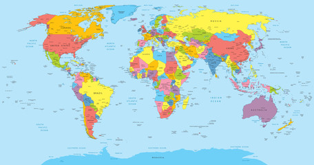 Fototapeta Mapy World map with countries, country and city names